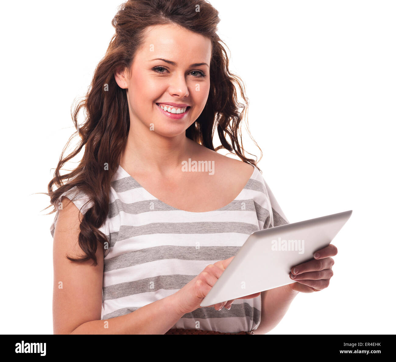 Young model with a digital tablet - Stock Image
