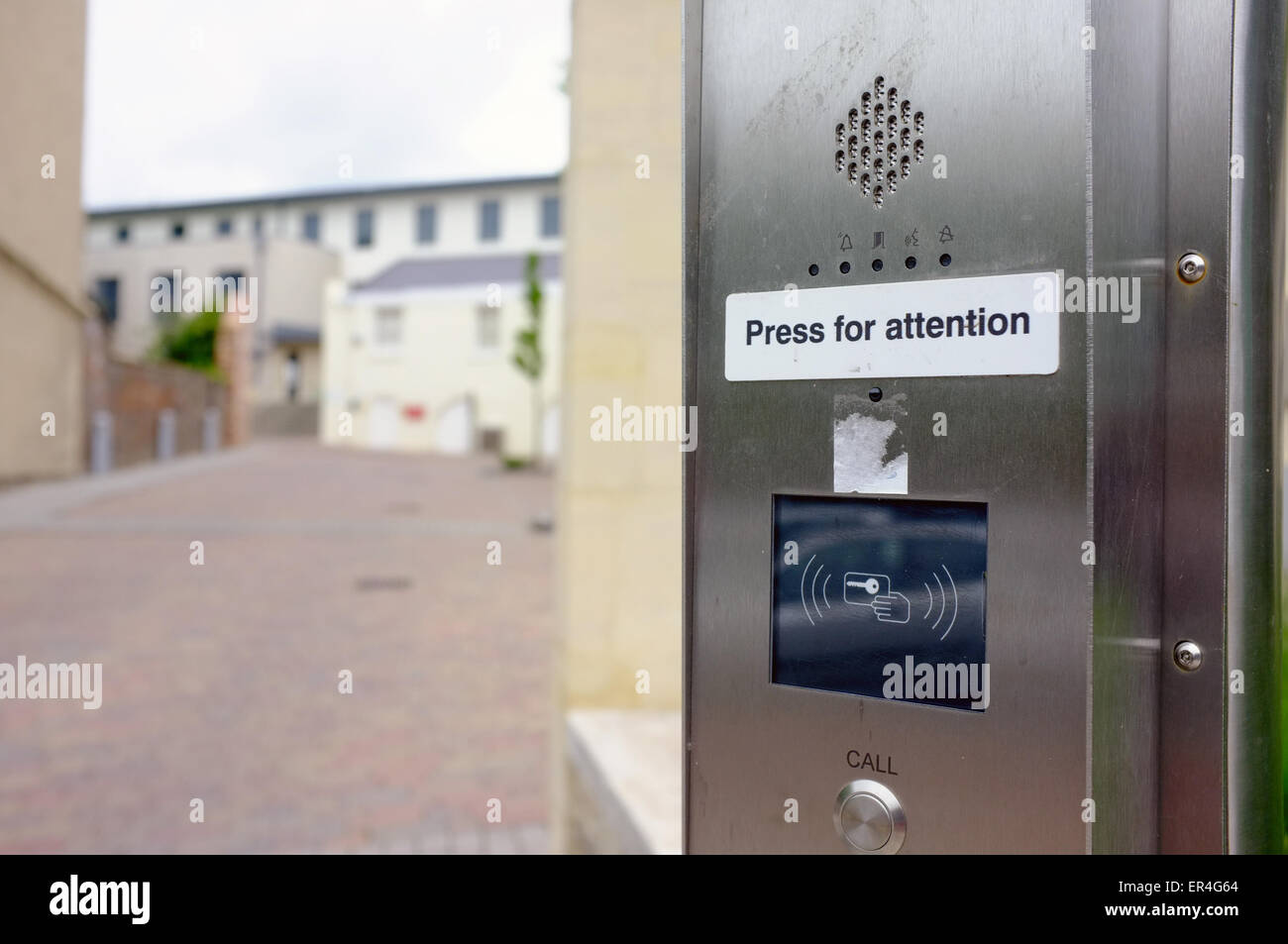 A security buzzer at the entrance to a private hospital in Bristol in the UK. - Stock Image