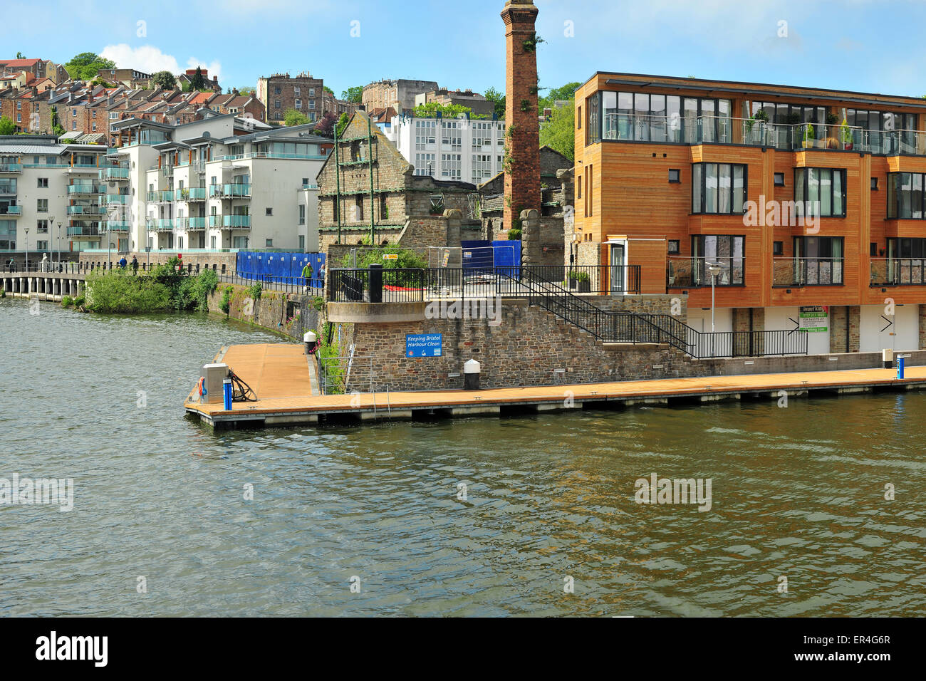 Bristol Harbour and harbourside buildings in the centre of Bristol. - Stock Image