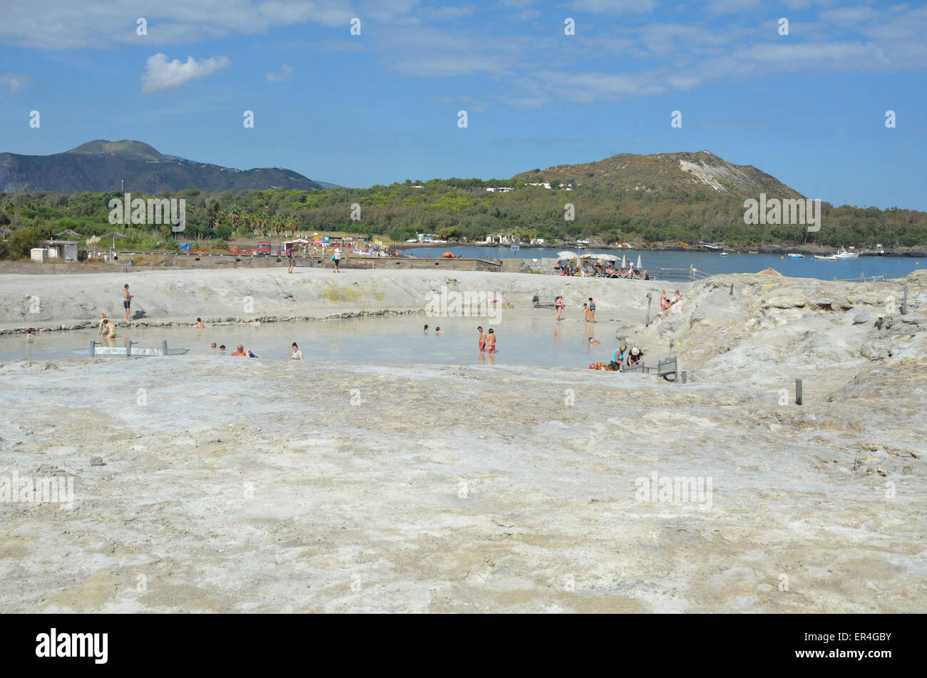 Bathing on Vulcano Island, Aeolian Islands, Sicily, Italy, Europe, - Stock Image