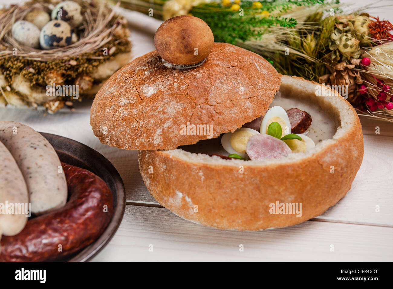 Abundance on easter holiday table. Debica, Poland - Stock Image