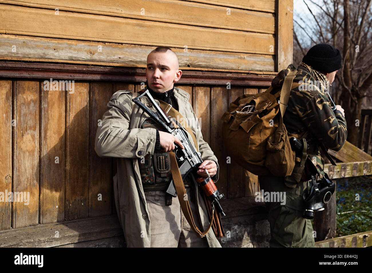 Hitman on operation of capturing the village - Stock Image
