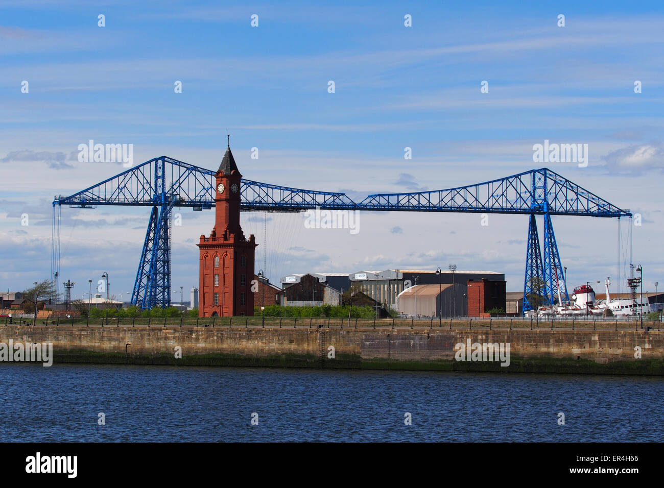 The Teesside Transporter Bridge at Middlesbrough, England, the furthest downstream bridge across the River Tees. Stock Photo