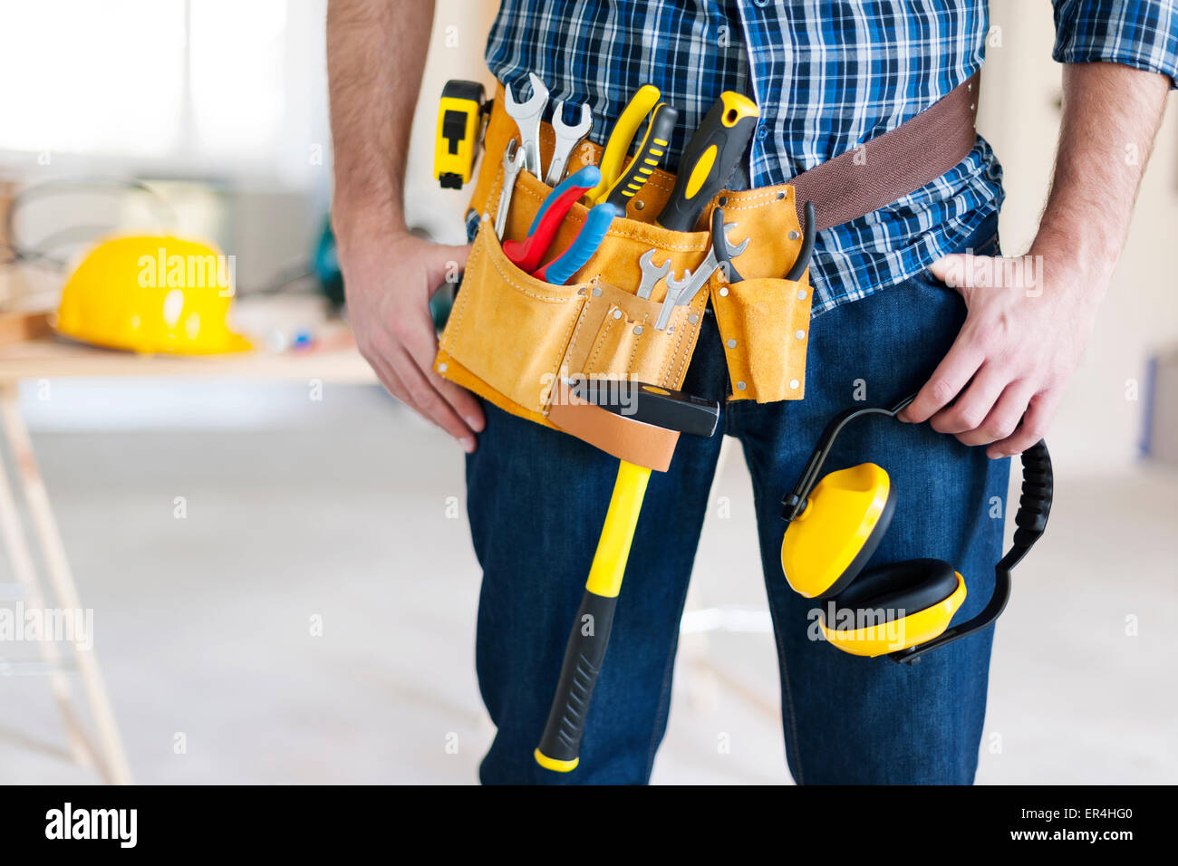 Part of construction worker with tools belt. Pilzno, Poland - Stock Image