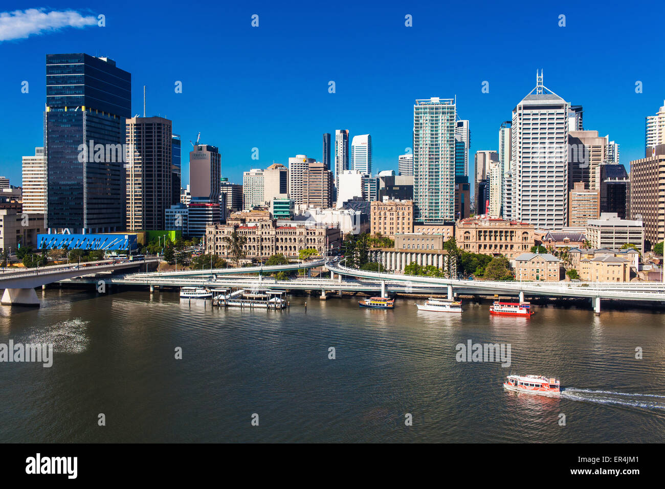 BRISBANE, AUSTRALIA-DECEMBER 29 2013:View of Brisbane from South Bank over the river. Brisbane is the capital of - Stock Image