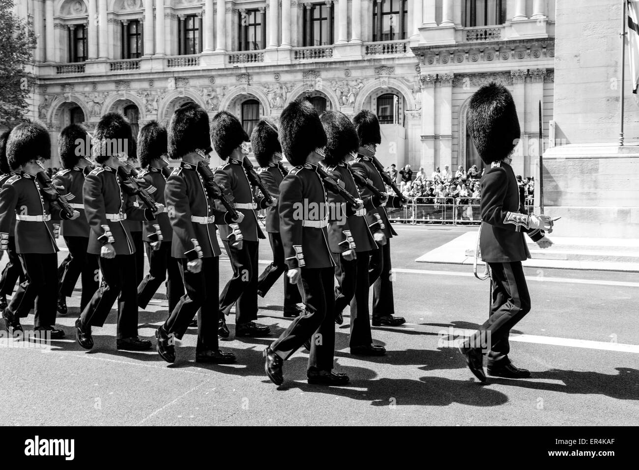 The Scots Guards March Past The Cenotaph War Memorial As Part Of The 70th Anniversary Celebrations of VE Day, London, - Stock Image