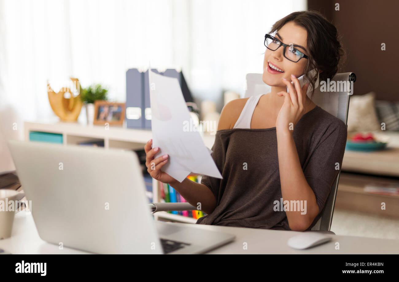 Many stuff to do today in home office. Debica, Poland - Stock Image