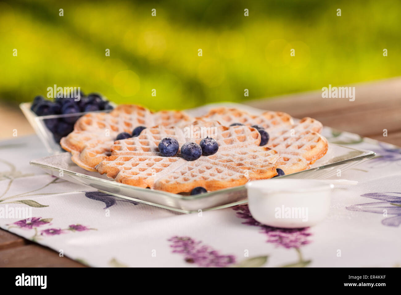 Belgian waffles taste the best with blueberry. Debica, Poland - Stock Image