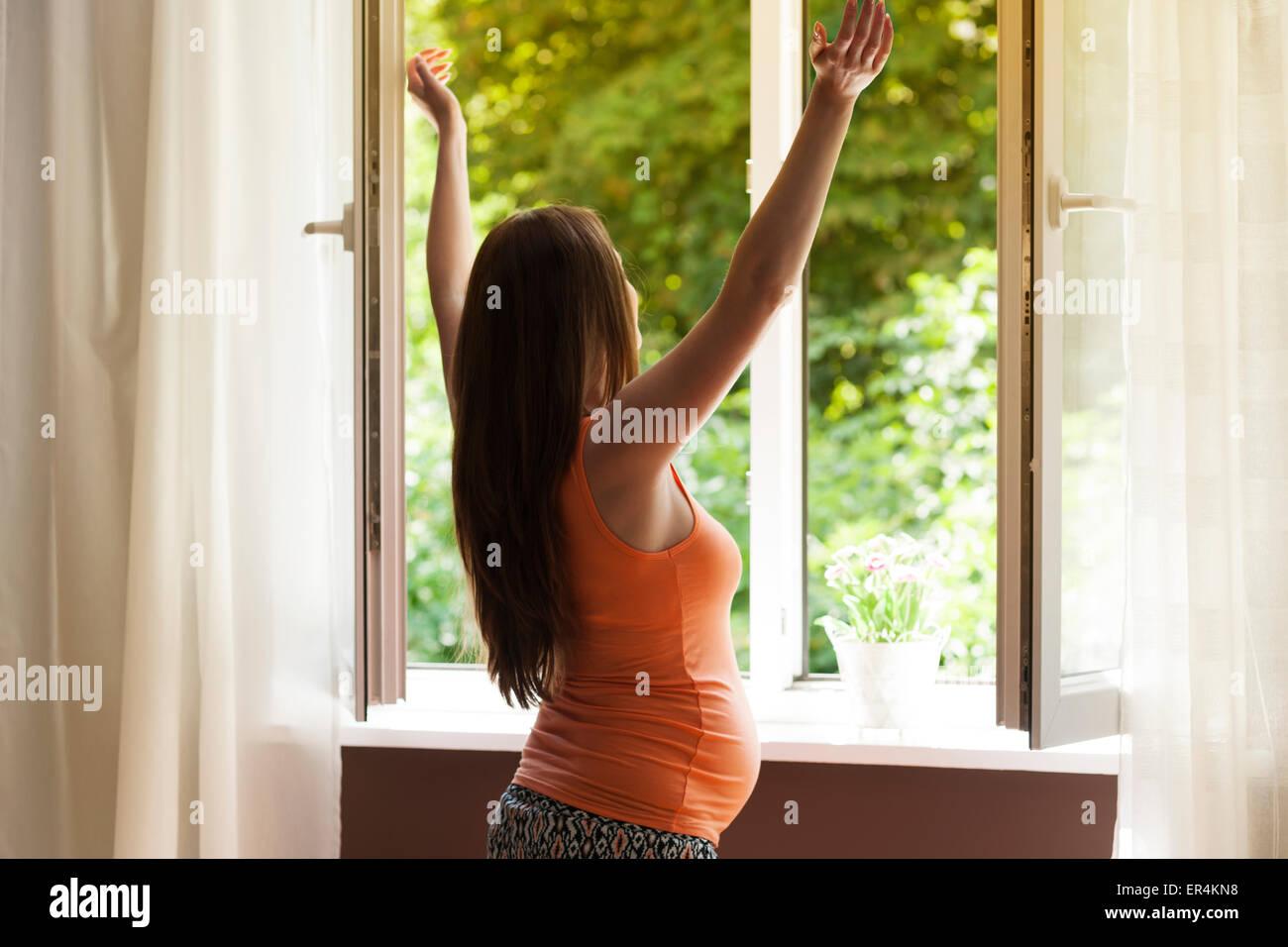Pregnant woman enjoying fresh air. Debica, Poland - Stock Image