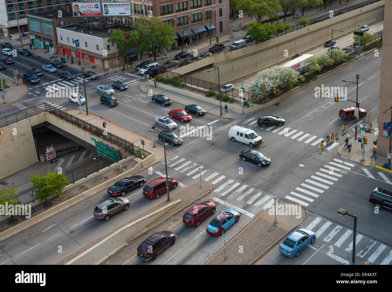 Aerial View Of City Street Intersection Philadelphia Usa Stock Photo Alamy