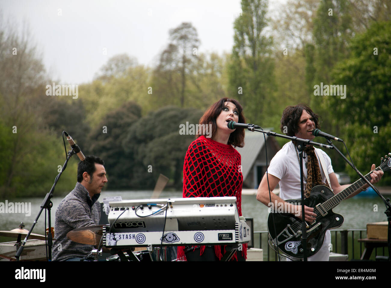 Band, 'Stash', performing Live at Battersea Park in Cafe - London UK - Stock Image