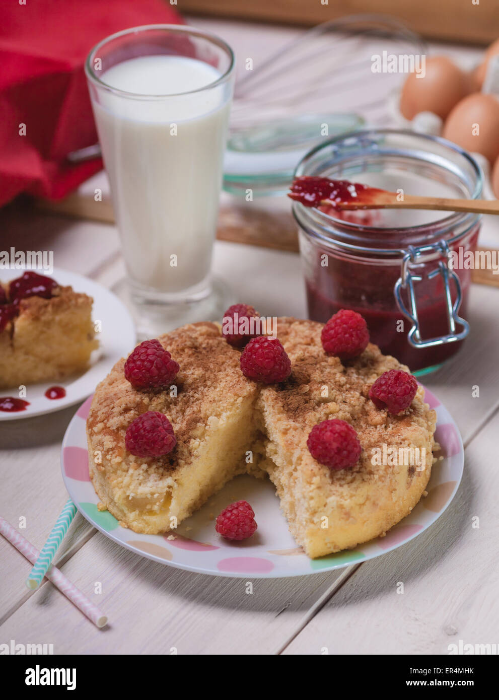 Rustic style of raspberries pie on wooden planks. Debica, Poland - Stock Image