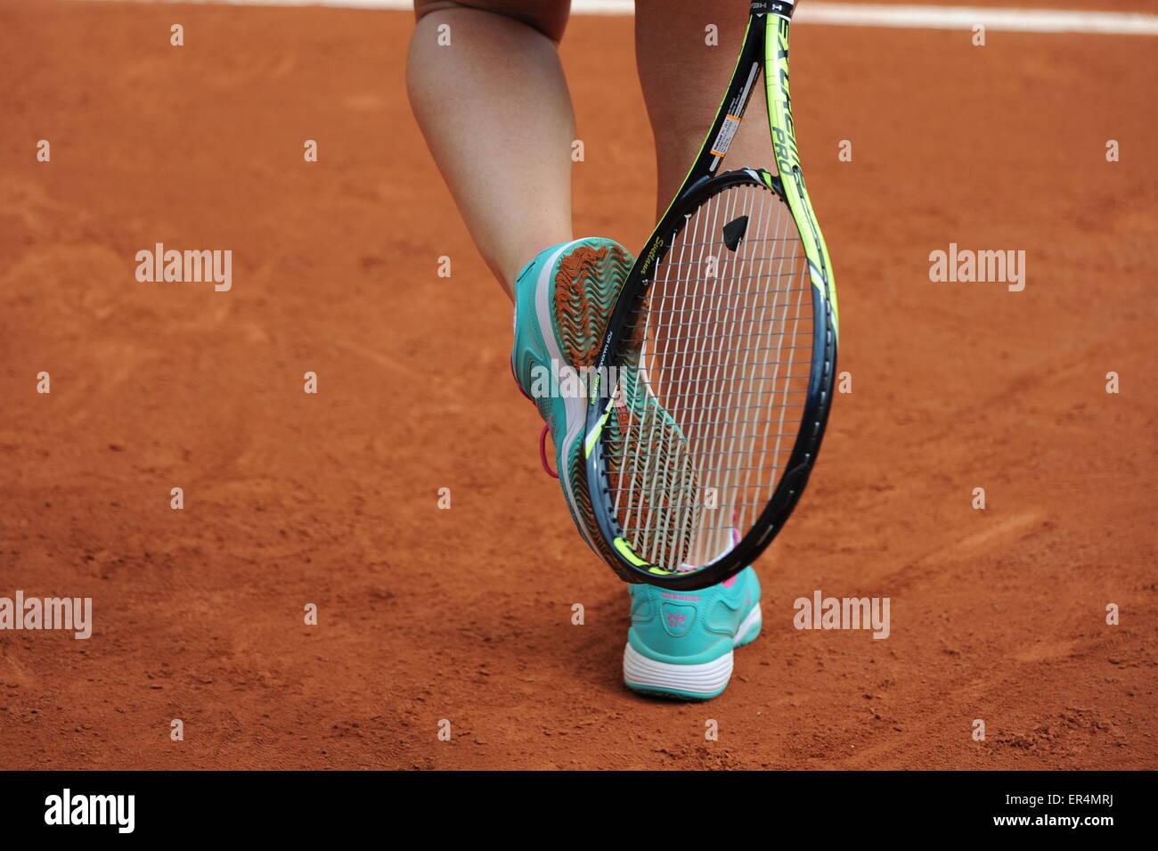 illustration chaussures - raquette - 26.05.2015 - Jour 3 - Roland Garros 2015.Photo : Nolwenn Le Gouic/Icon Sport - Stock Image