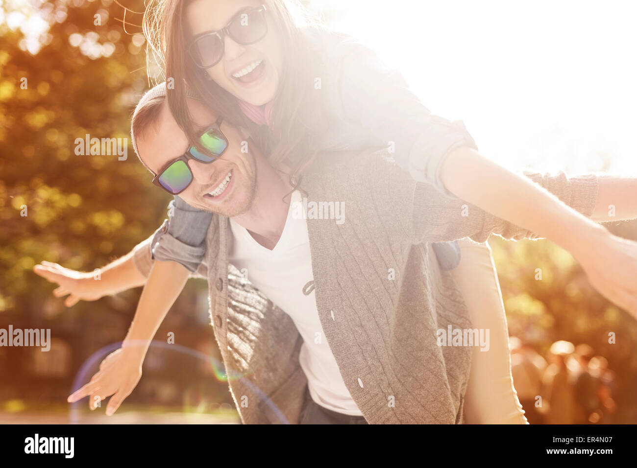 Happy time for young couple. Krakow, Poland - Stock Image