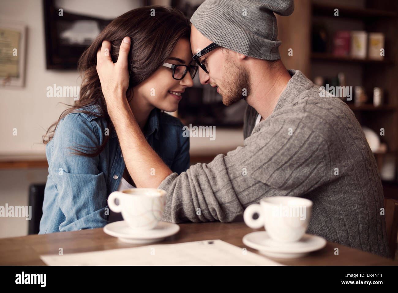Romantic moments for young couple. Krakow, Poland - Stock Image