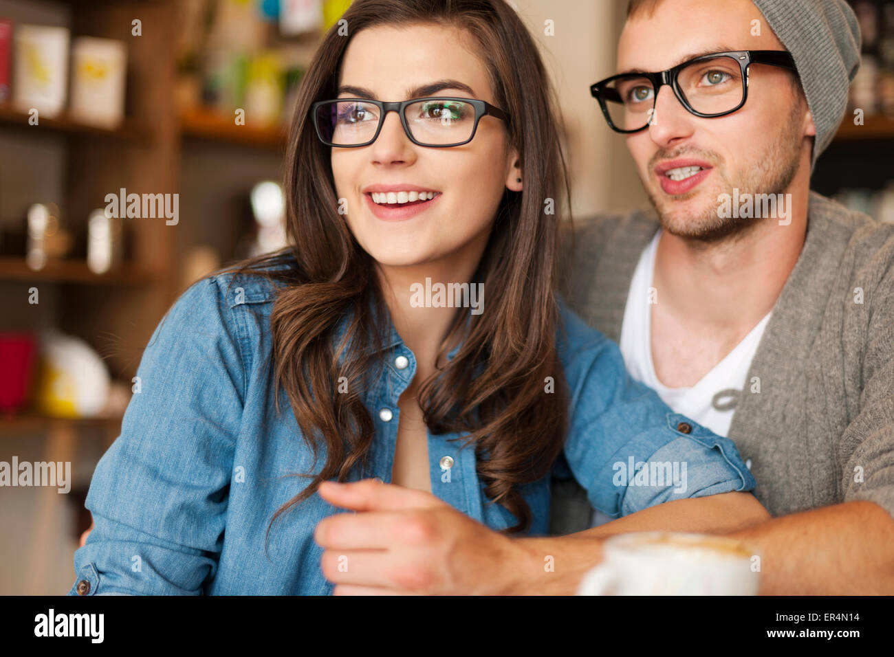 Hipster young couple at cafe. Krakow, Poland Stock Photo