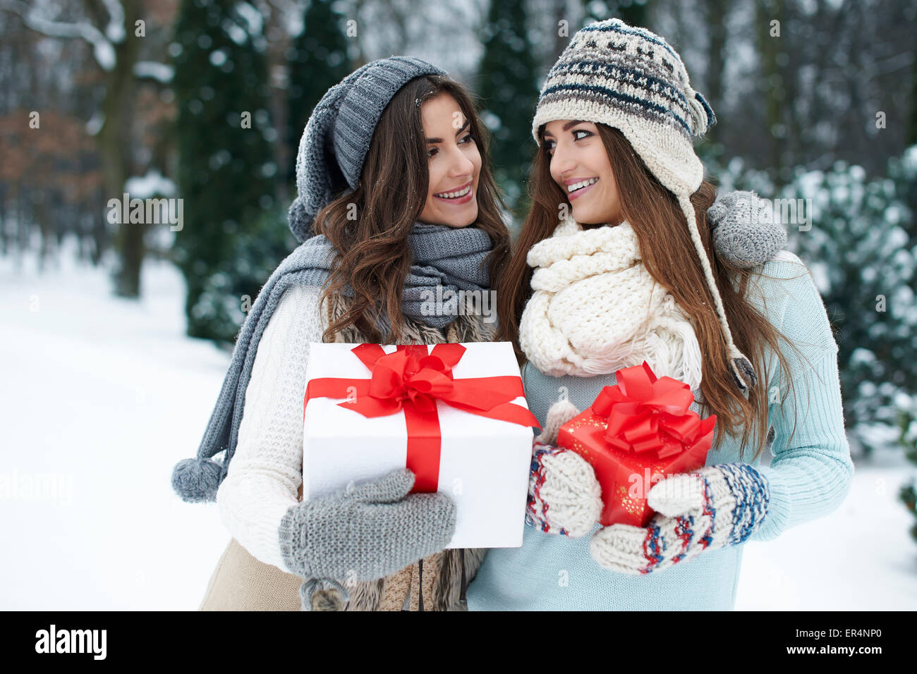 It's time for exchanging of Christmas gifts. Debica, Poland - Stock Image
