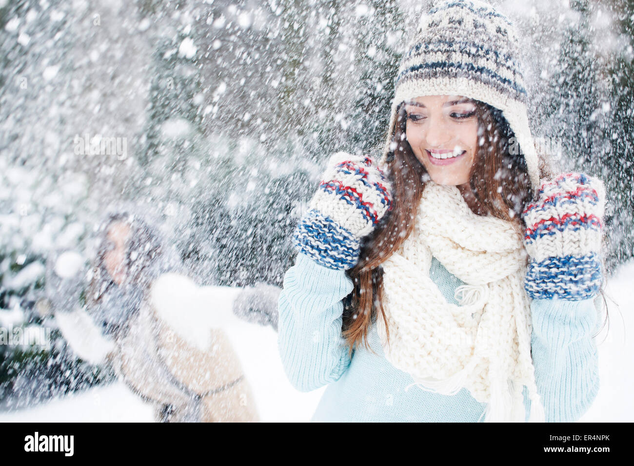 Winter fight for snowball can feel like a child. Debica, Poland - Stock Image