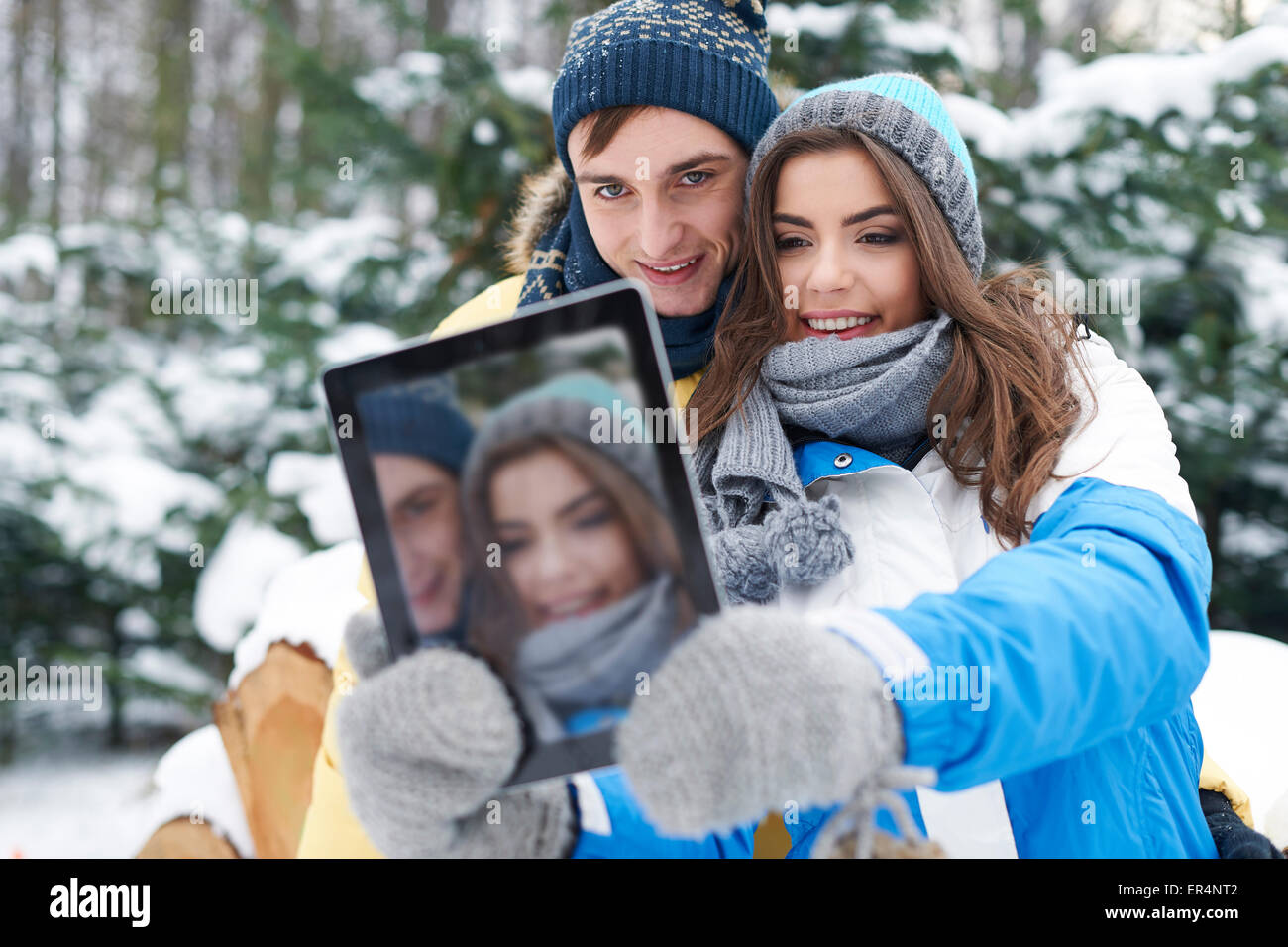 Hey baby, smile! I'm taking selfie by digital tablet. Debica, Poland - Stock Image