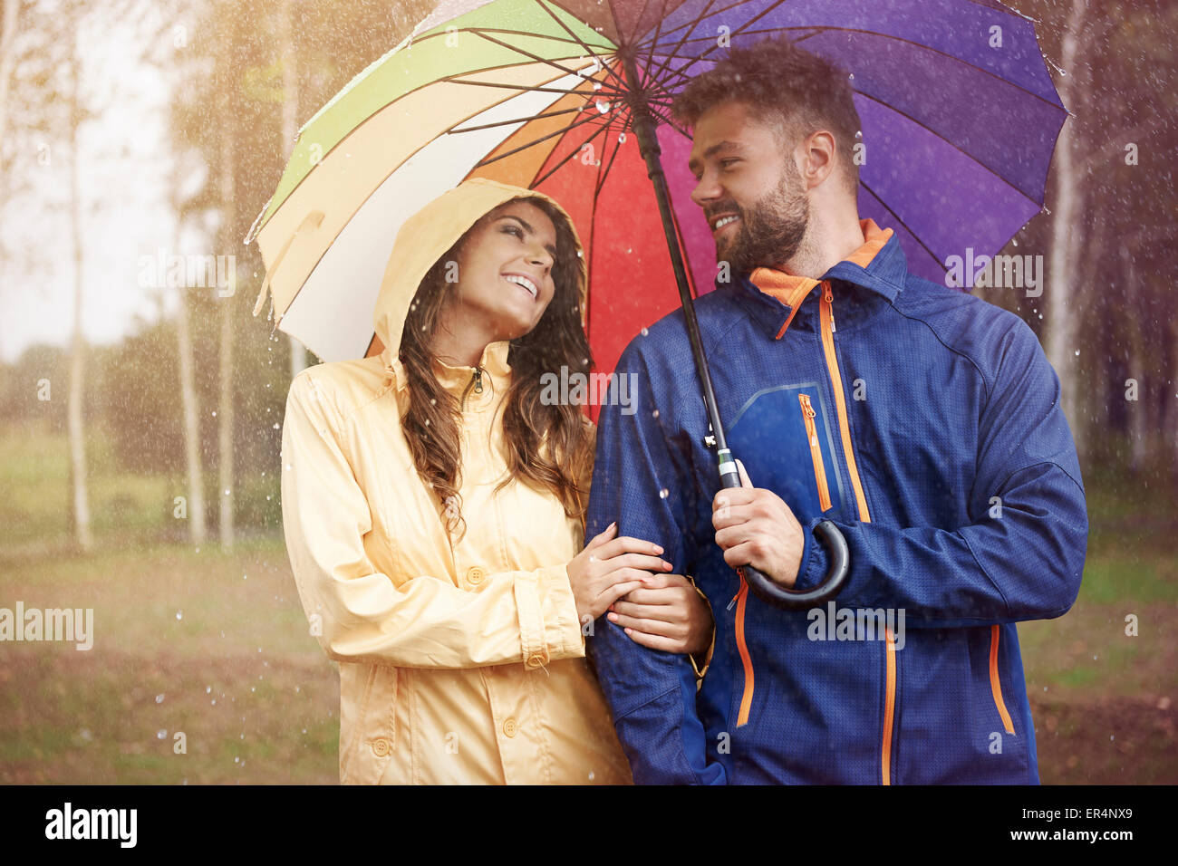 Even rainy day can be nice. Debica, Poland - Stock Image