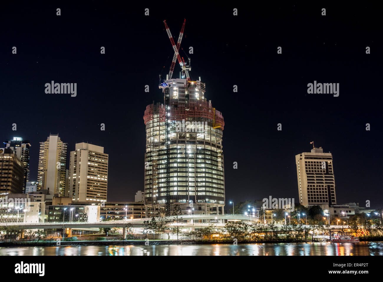 Building Construction Beside Brisbane River - Stock Image
