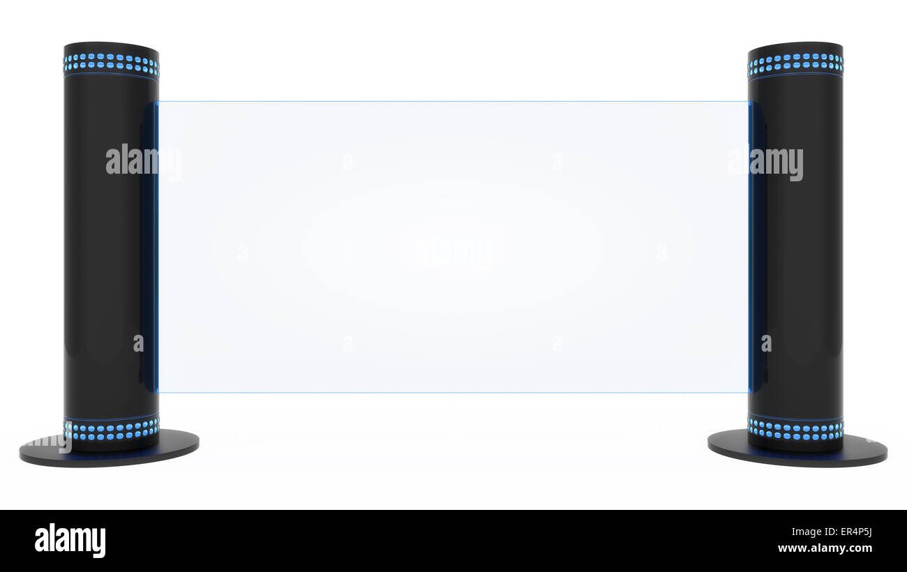 Modern / Futuristic Display Sign isolated on a white background. - Stock Image
