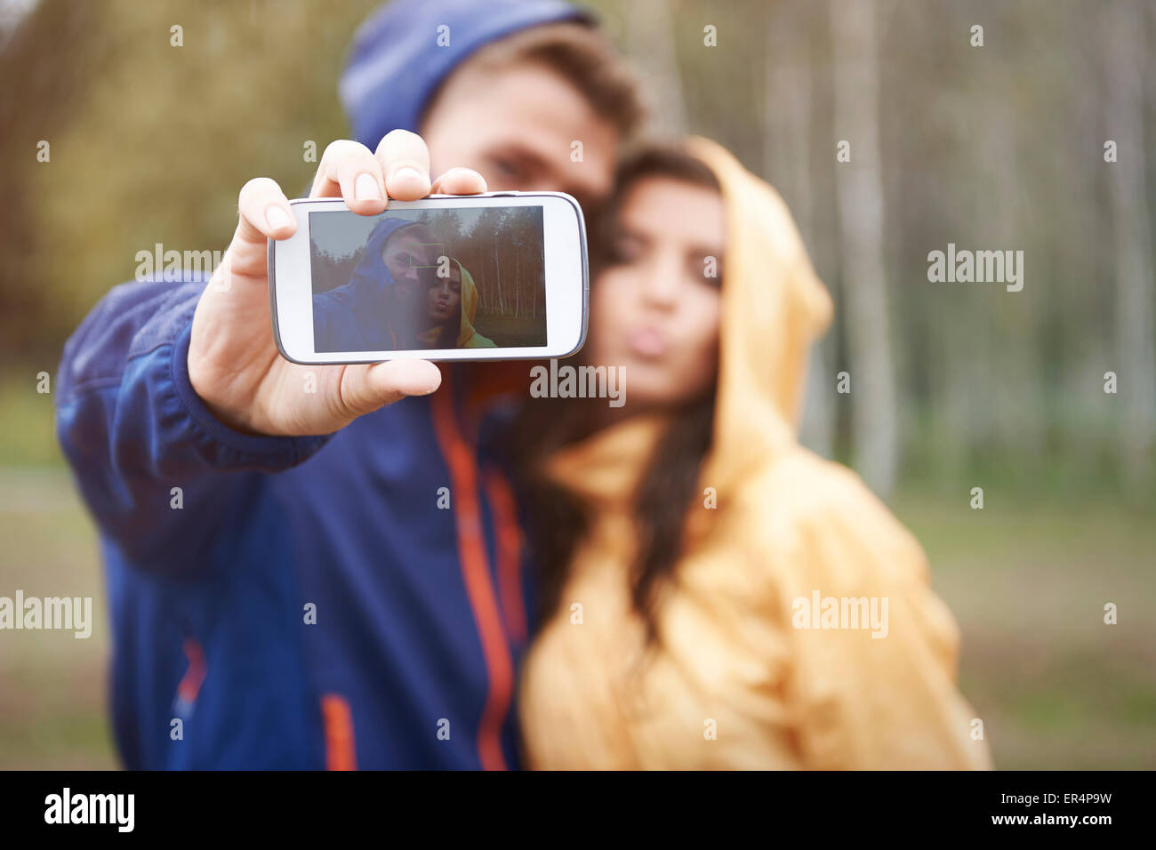 Catching memory in rainy day. Debica, Poland - Stock Image