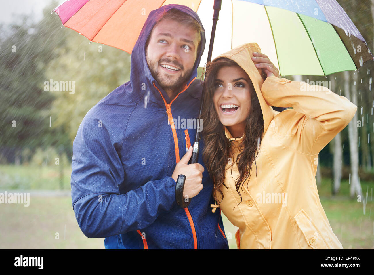 Even in big storm we have good mood. Debica, Poland - Stock Image