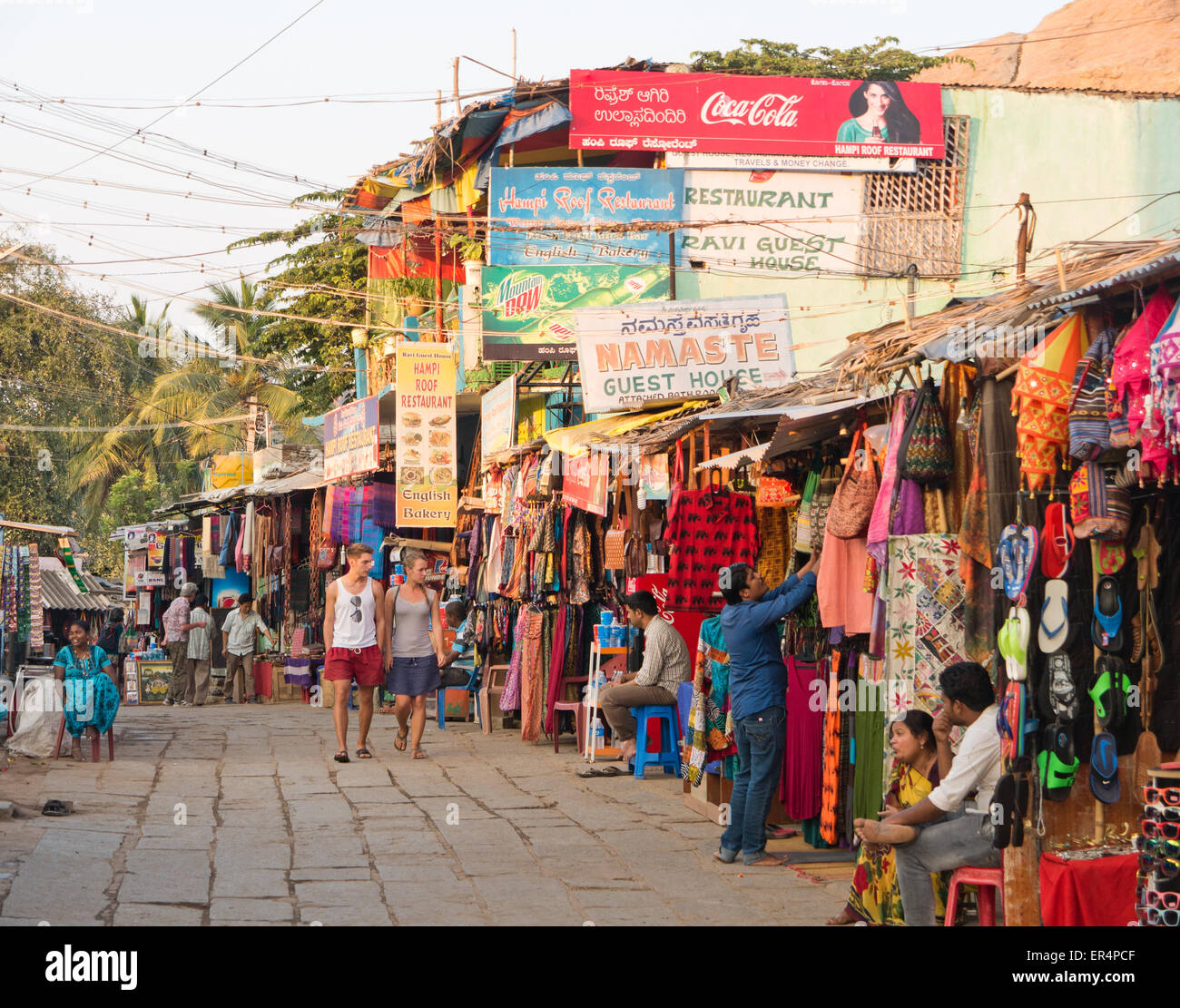 Hampi market and restaurants India Stock Photo