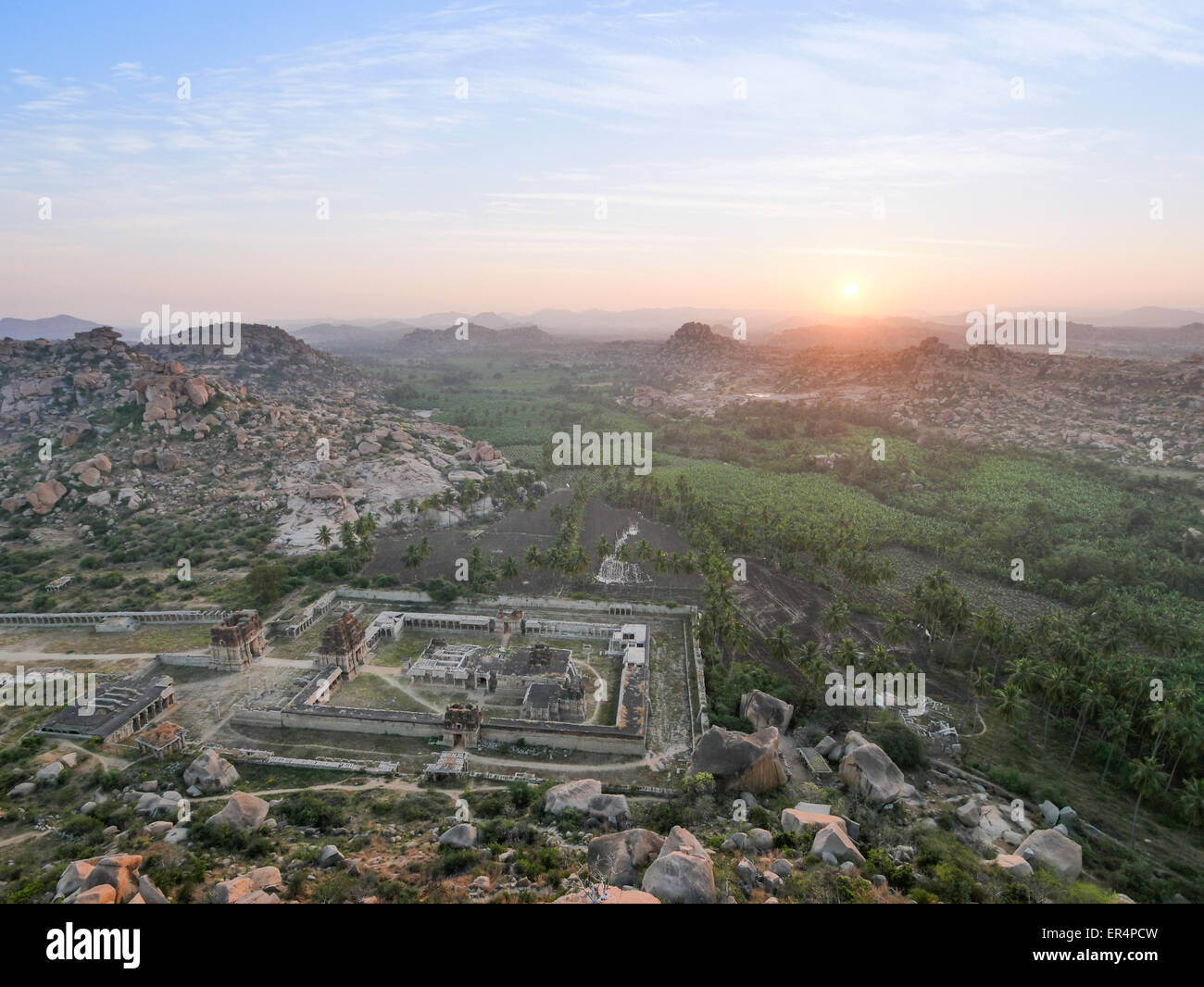 Tiruvengalanatha Temple in Hampi at sunrise in South India Stock Photo
