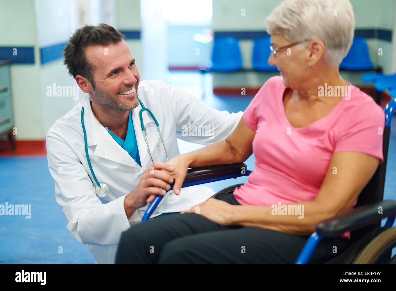 Contact with patient is very important for create positive thinking. Debica, Poland - Stock Image