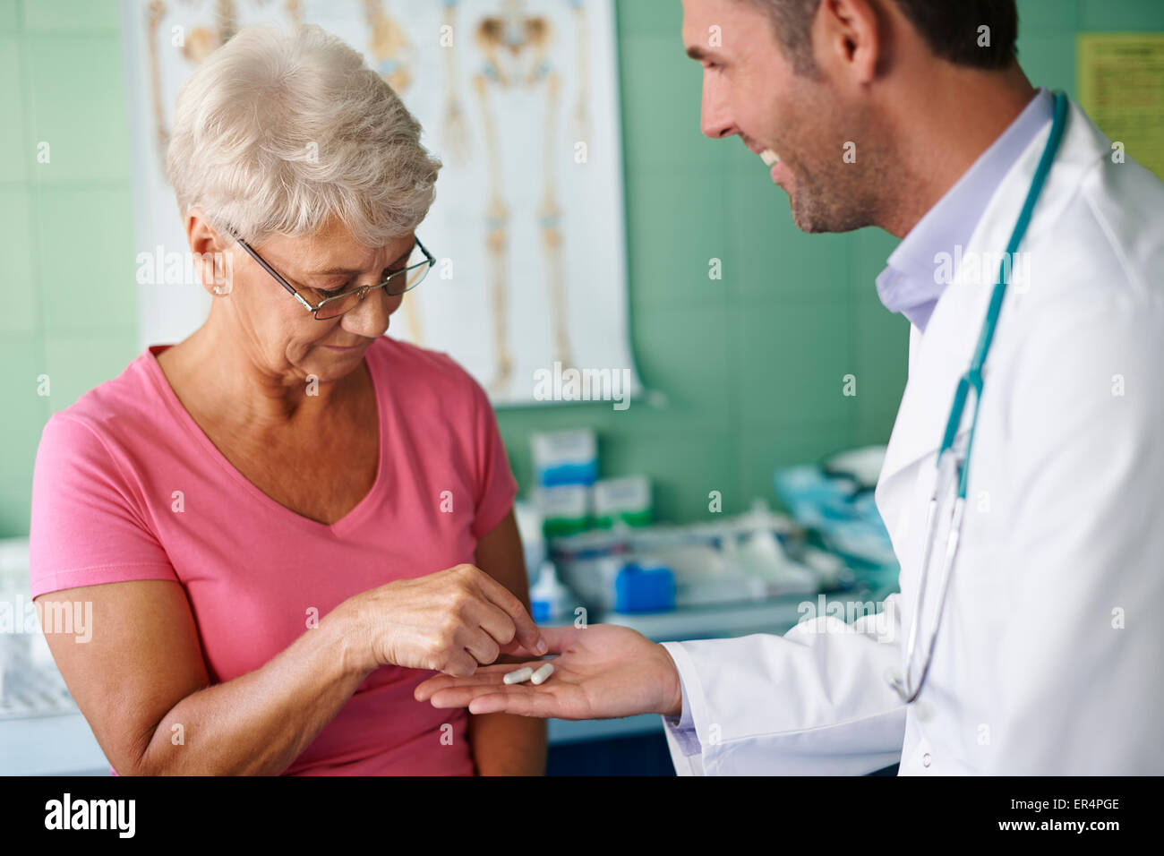 One pill and you will feel better. Debica, Poland - Stock Image