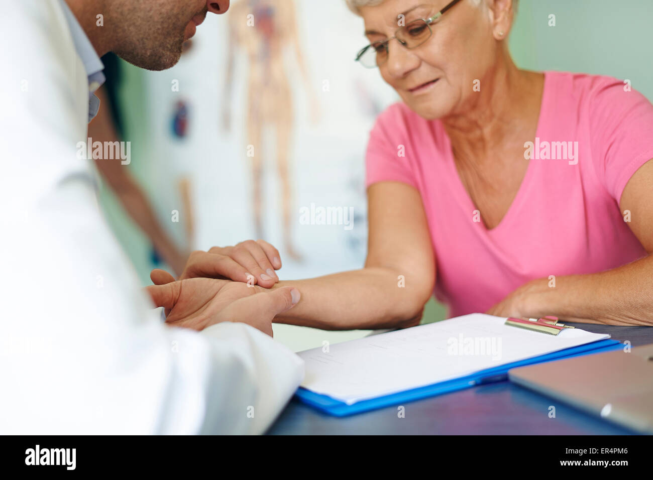 Testing pressure in doctor's office. Debica, Poland Stock Photo