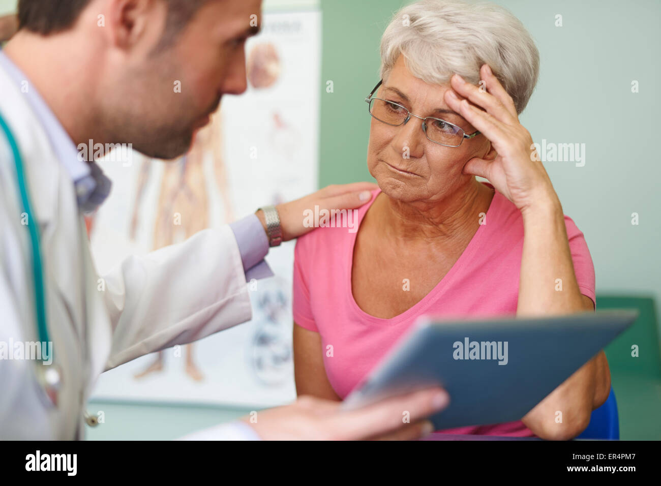 Don't worry, this medical test isn't so bad. Debica, Poland - Stock Image
