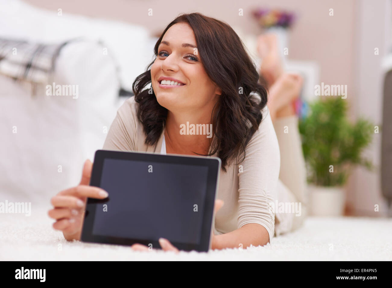 Look at the digital display of my tablet! Debica, Poland - Stock Image