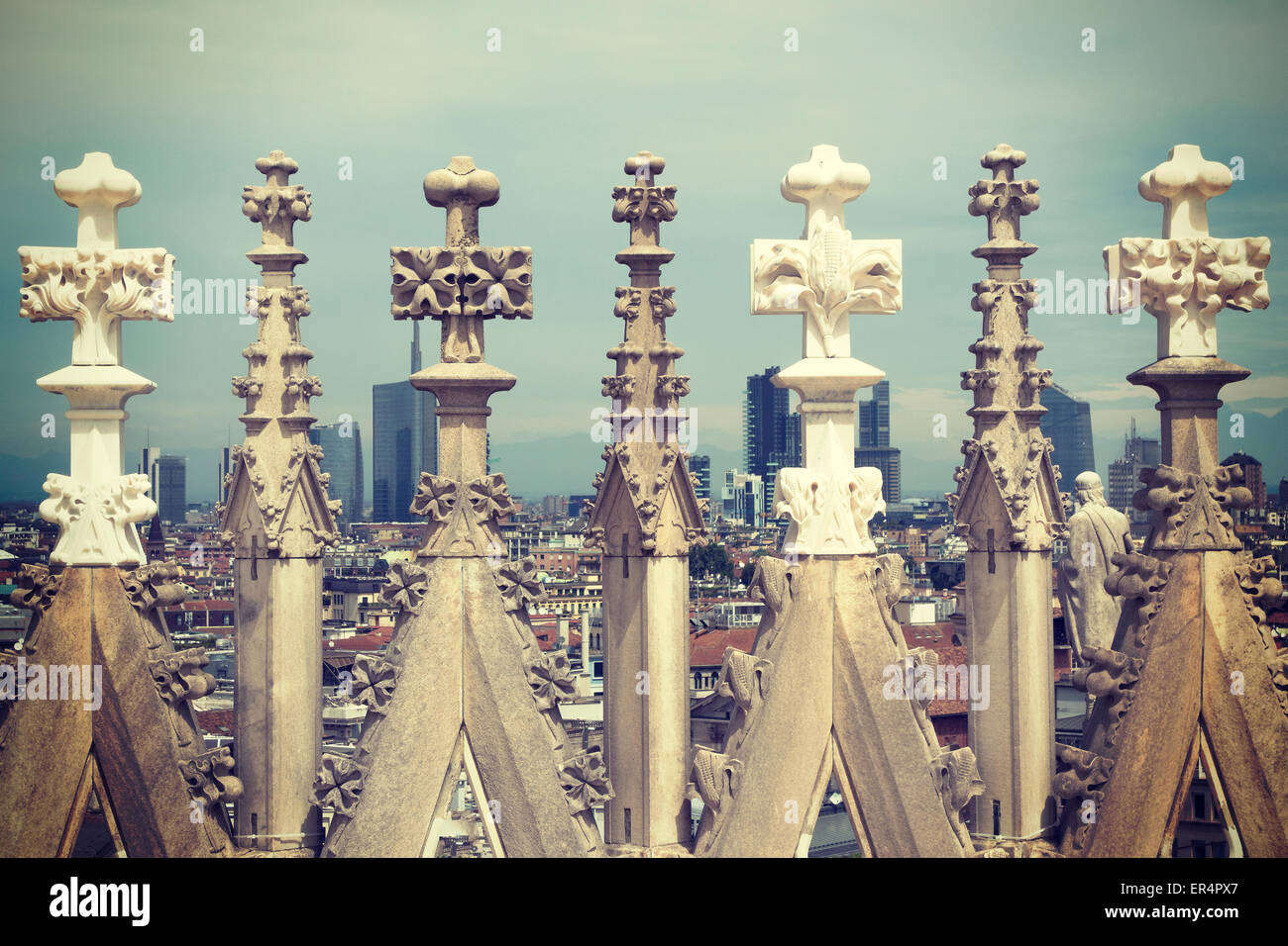 Retro toned details of Duomo cathedral in Milan. - Stock Image