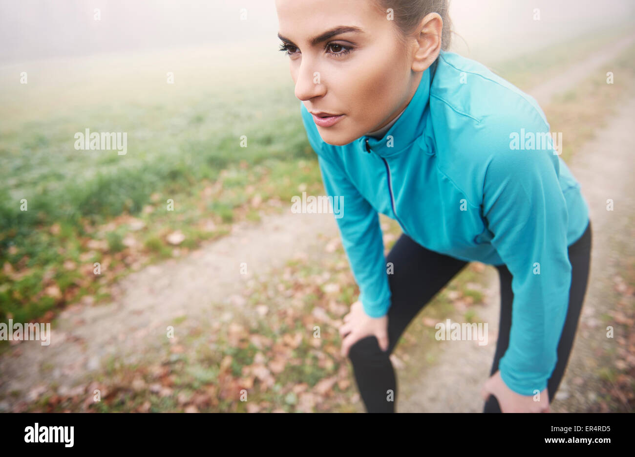 Morning running is tiring but it's a kick start for the rest of the day. Debica, Poland - Stock Image