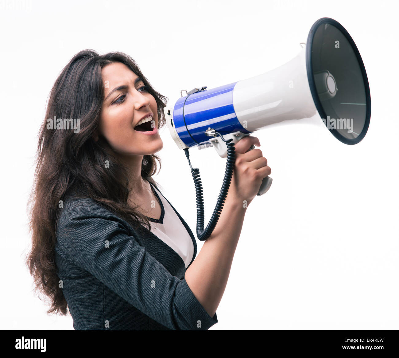 Businesswoman screaming in megaphone isolated on a white background - Stock Image