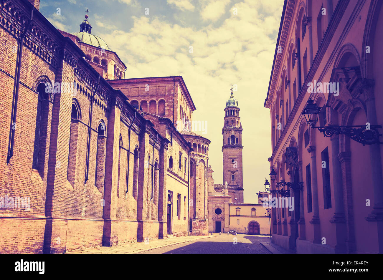 Vintage retro filtered picture of Parma old town, Italy. - Stock Image
