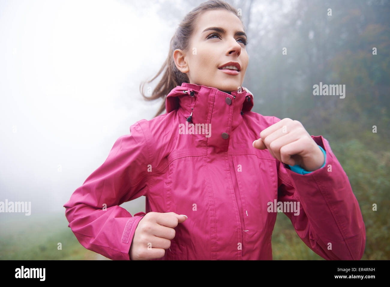 Getting fit even in bad weather. Debica, Poland - Stock Image