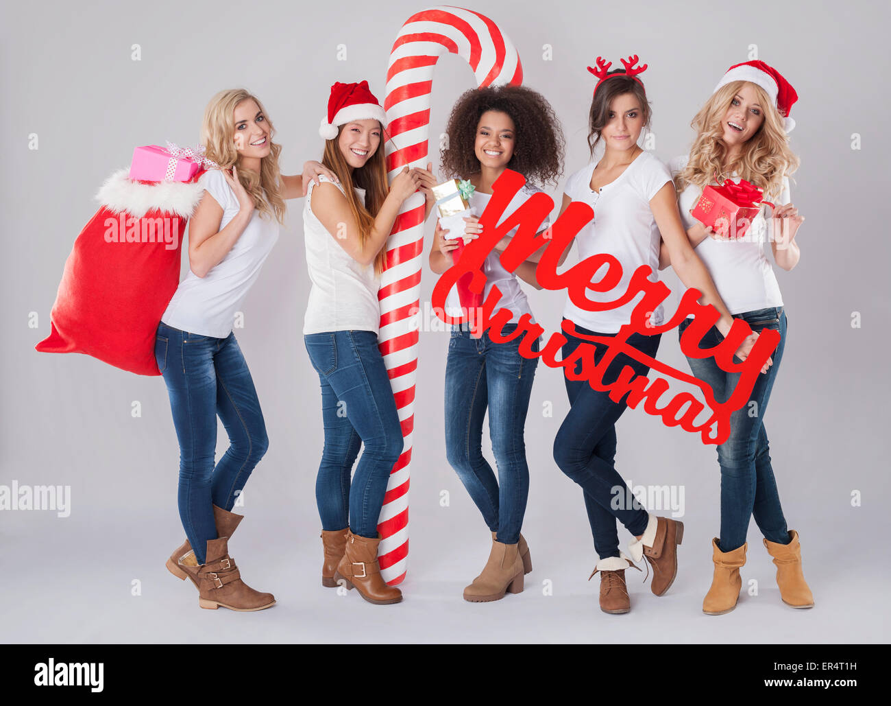 Merry Christmas to every nation. Debica, Poland - Stock Image