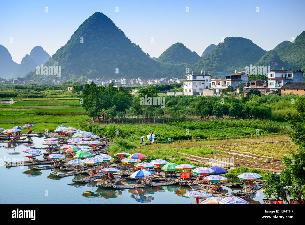 Yangshuo, China on the Li River. Stock Photo