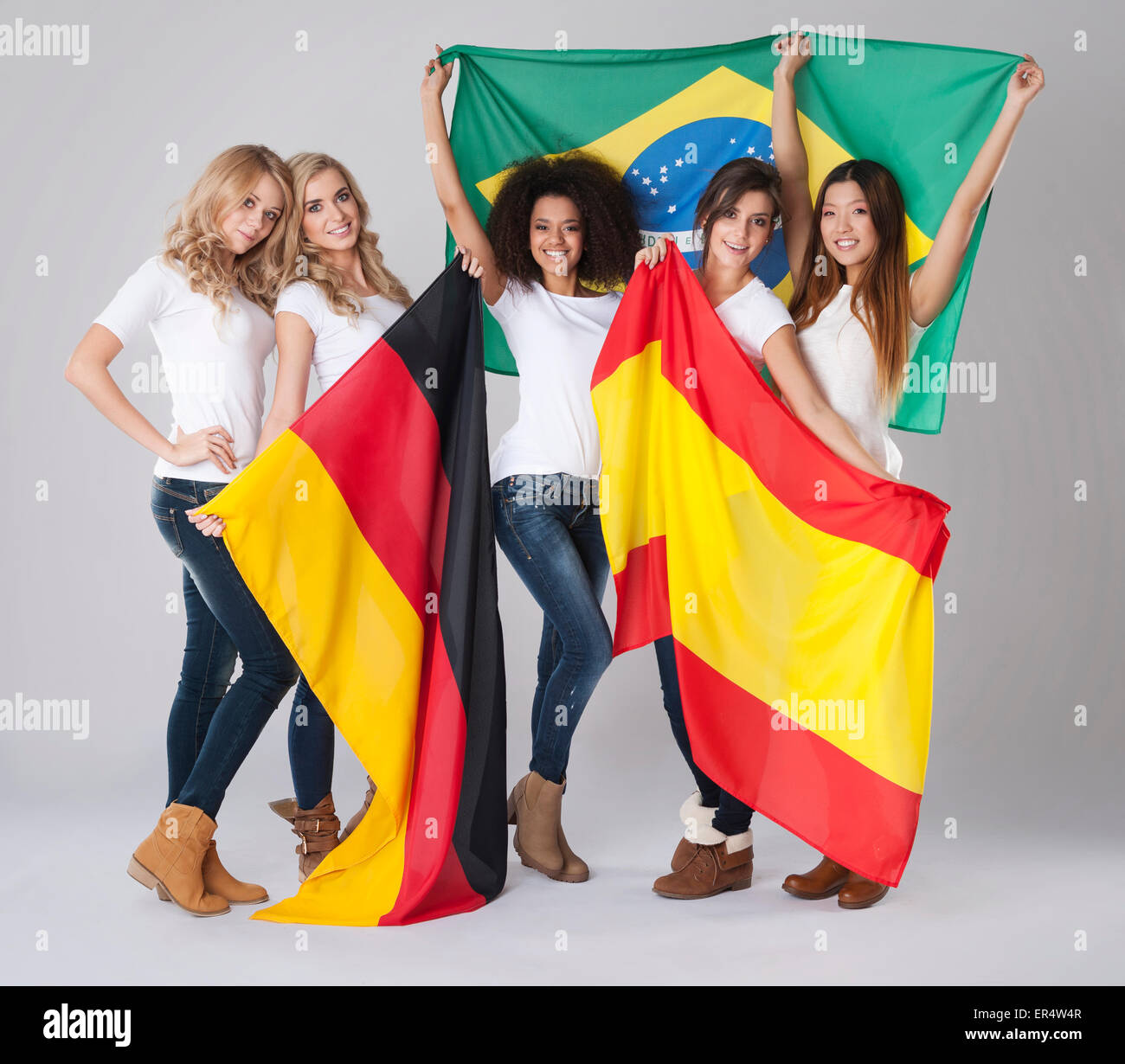 Different origins of young women. Debica, Poland - Stock Image