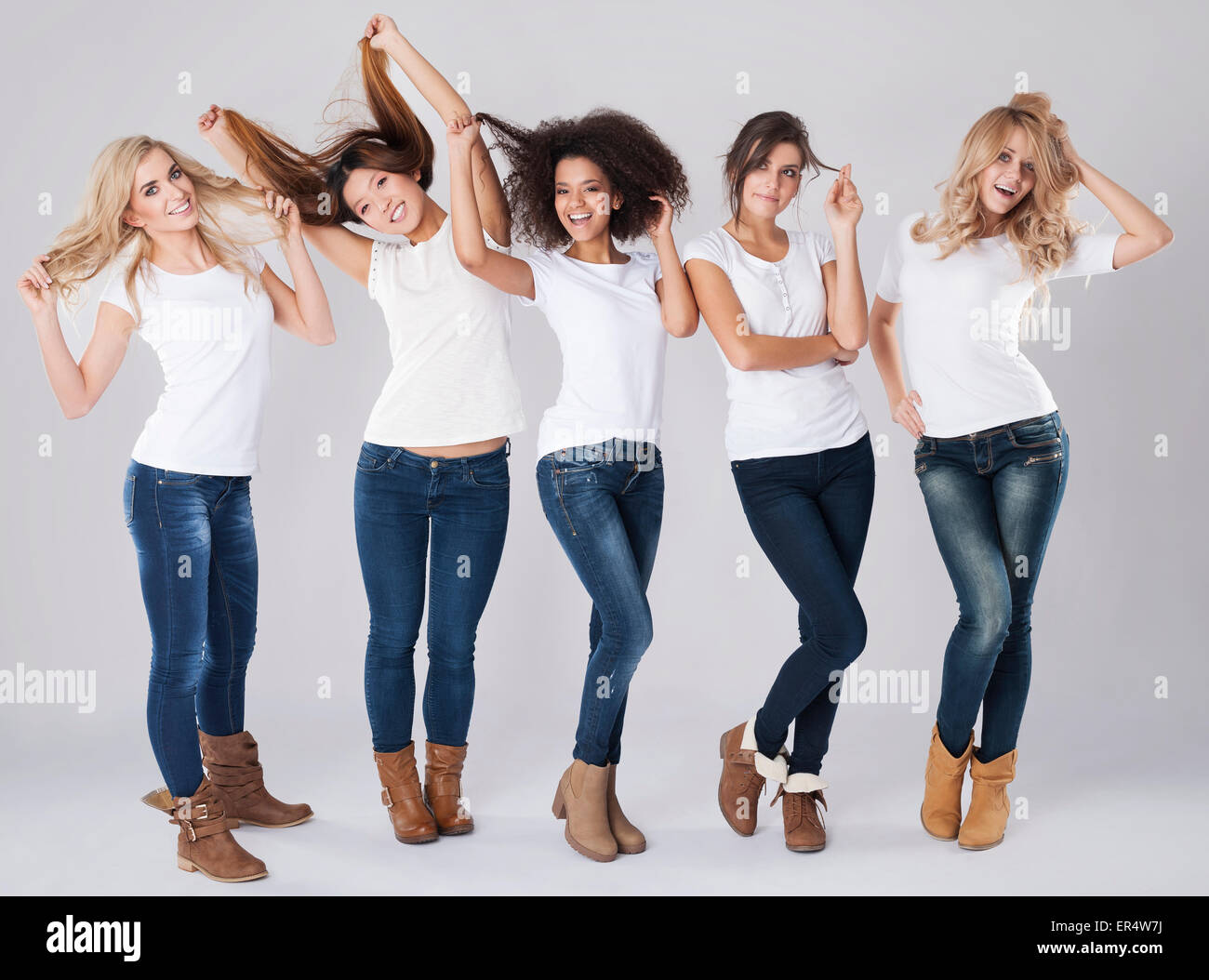 Hair care of women with different nationalities. Debica, Poland - Stock Image