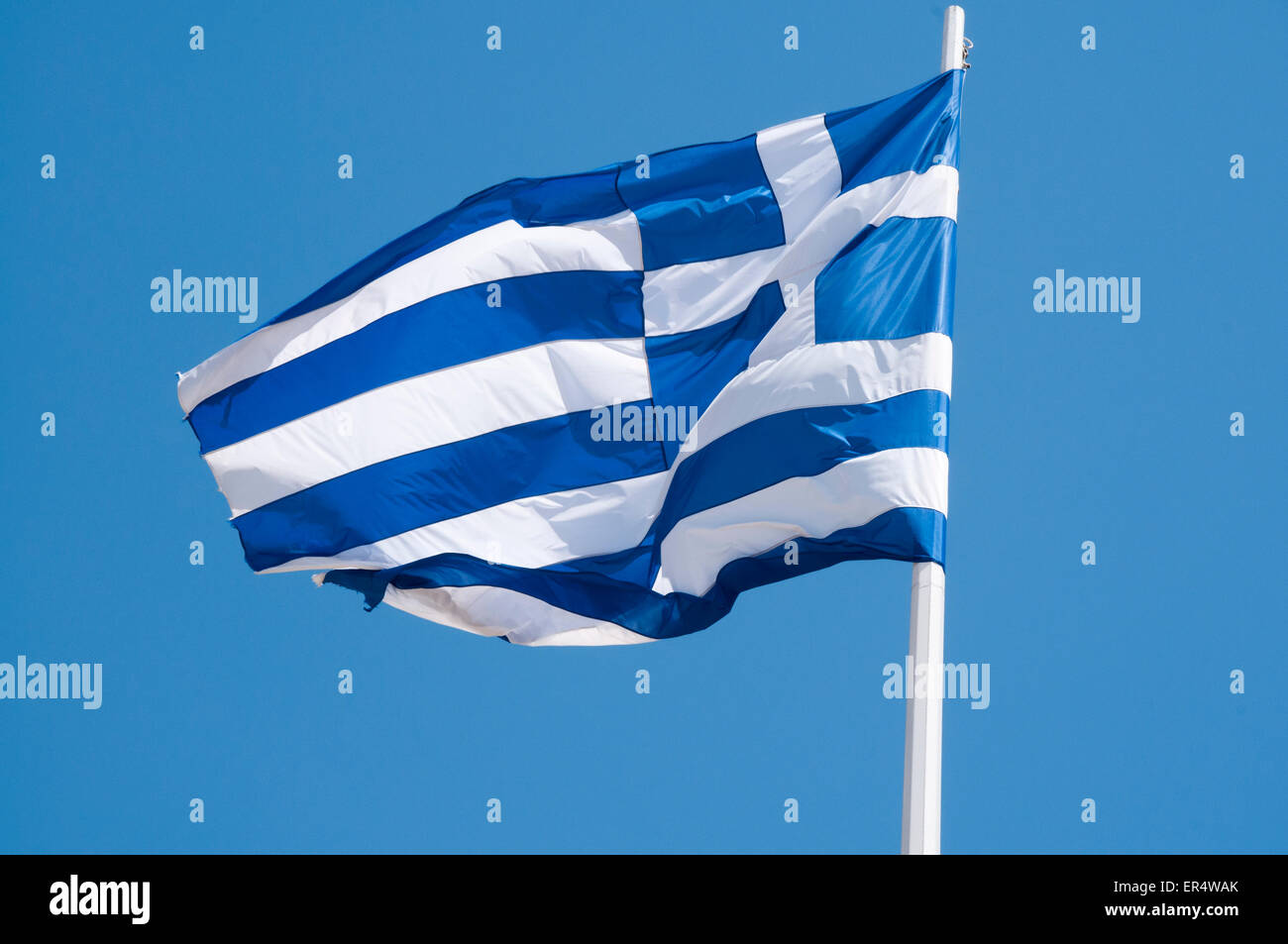 flag of Greece  Griechische Flagge - Stock Image