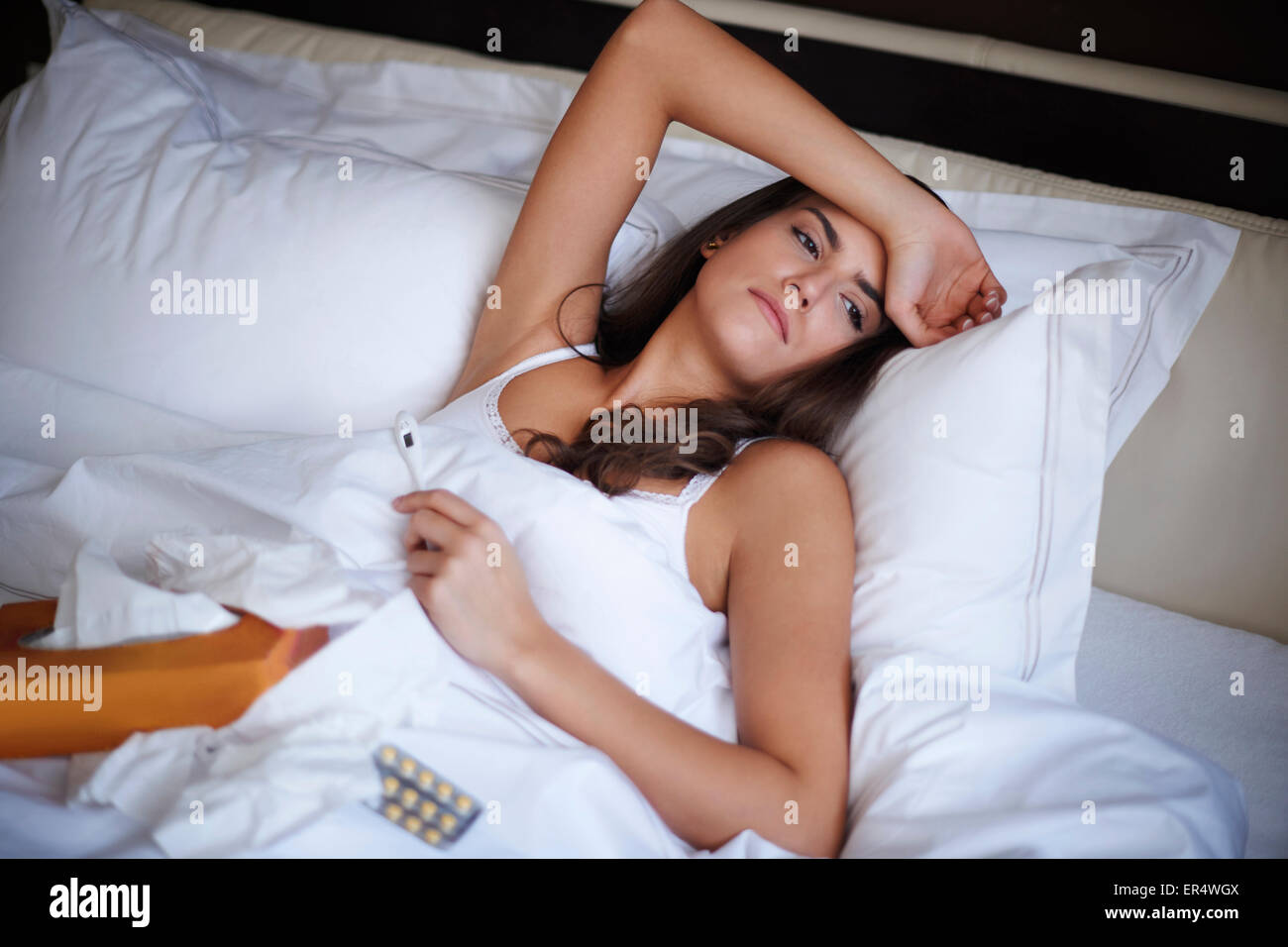 I have to spend this day in bed. Debica, Poland - Stock Image