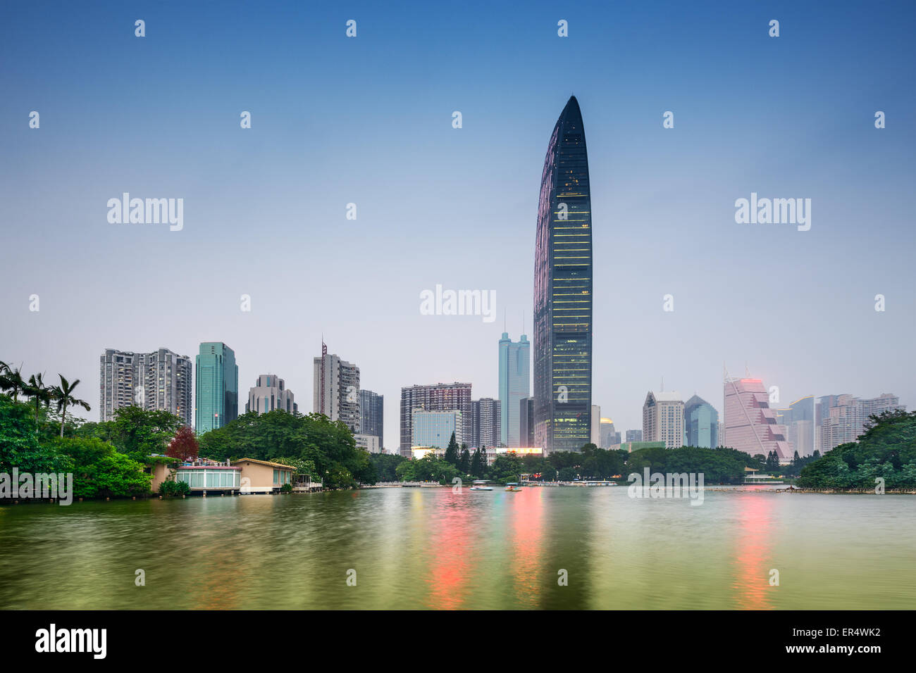 Shenzhen, China downtown skyline from Lychee Park. - Stock Image