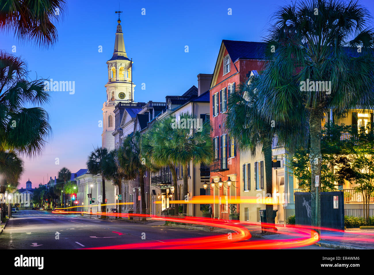 Charleston, South Carolina, USA cityscape at  St. Michael's Episcopal Church. - Stock Image