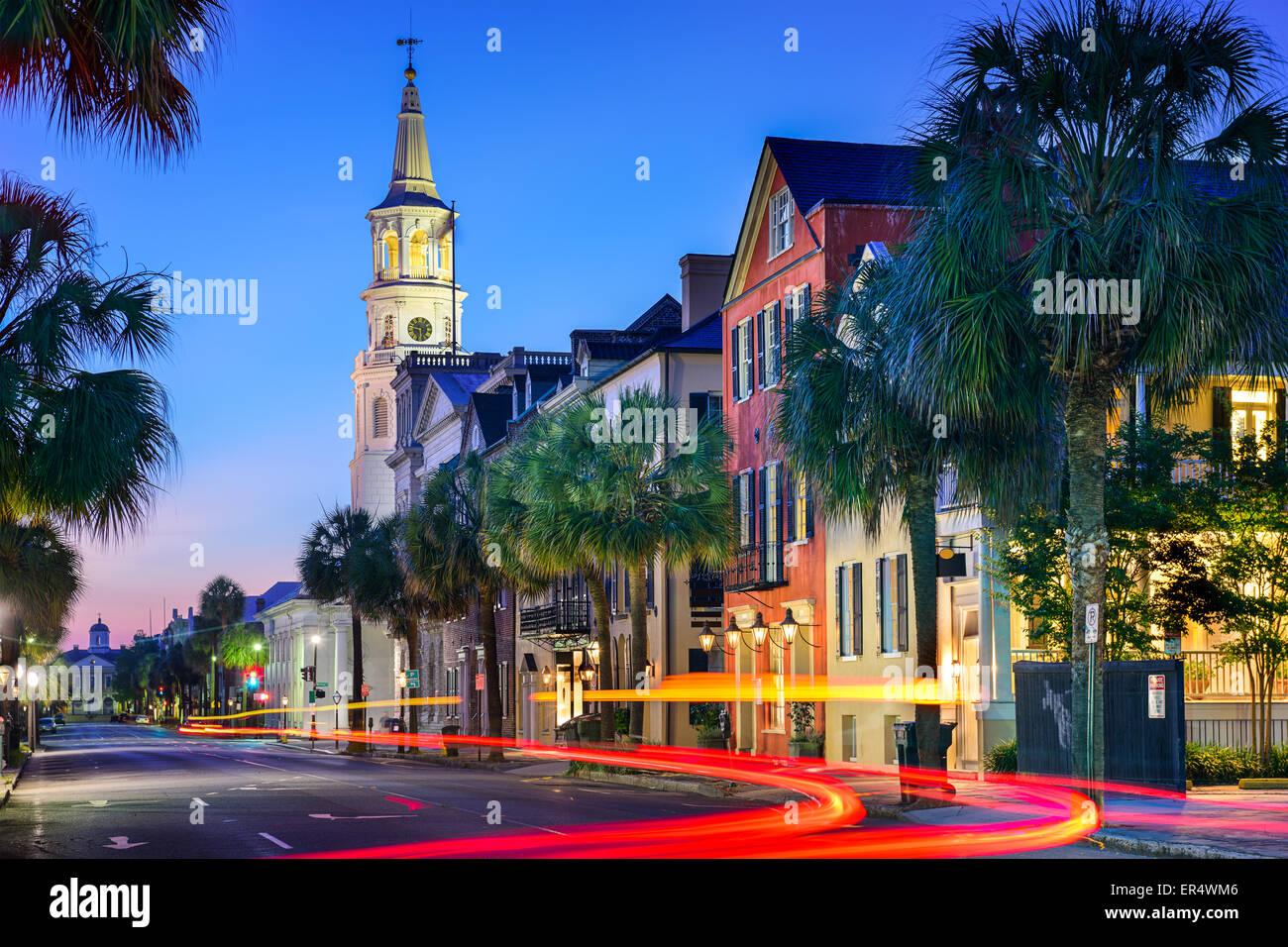 Charleston, South Carolina, USA cityscape at  St. Michael's Episcopal Church. Stock Photo
