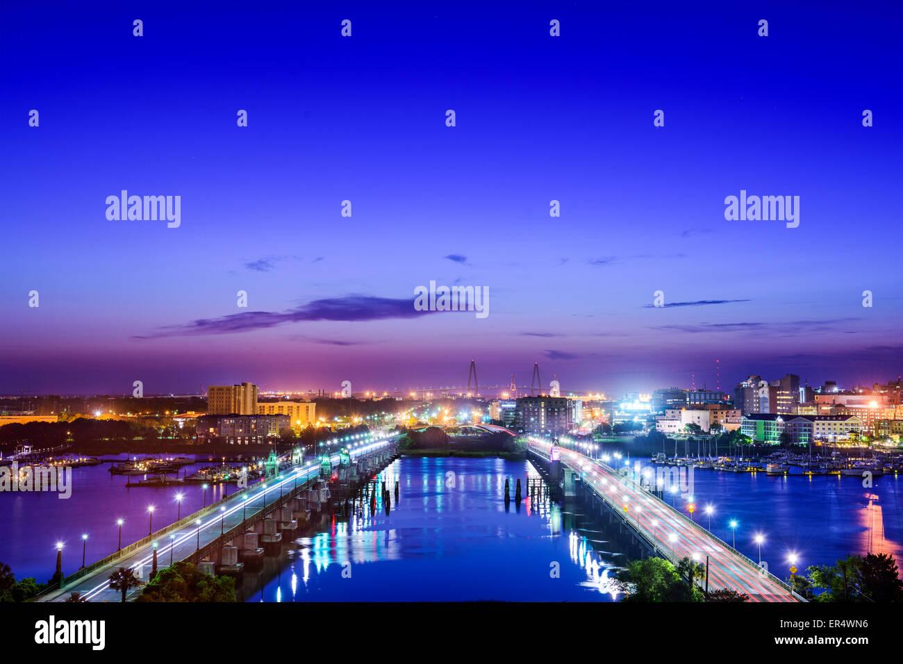 Charleston, South Carolina, USA skyline over the Ashley River. - Stock Image